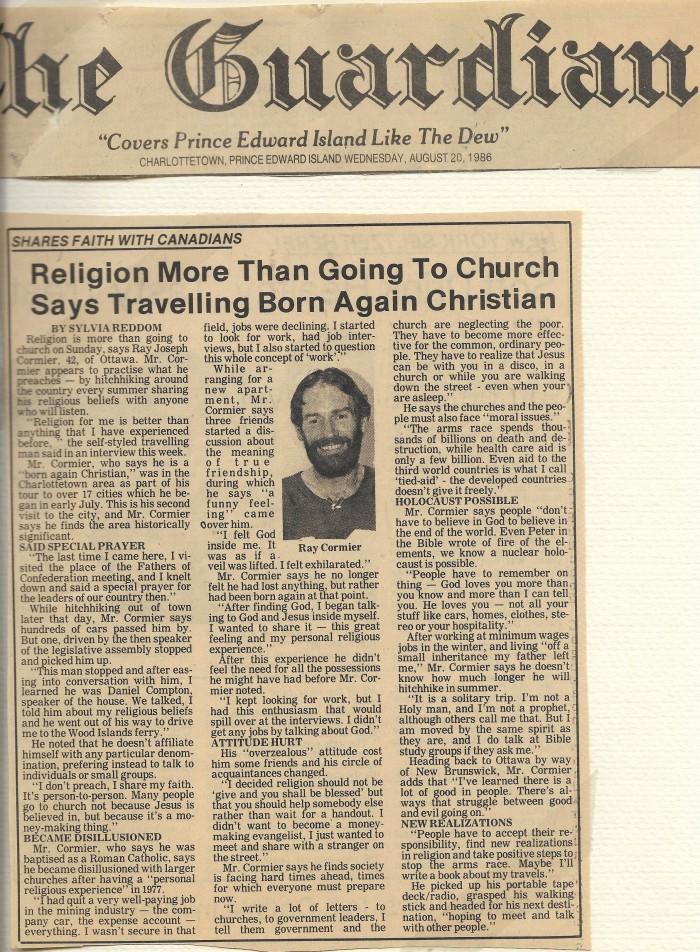 Prince Edward Island The Guardian August 20, 1986
