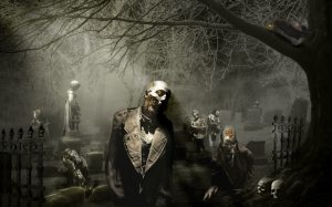 Zombies rising on cemetery