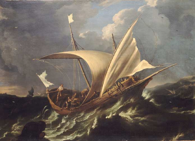 Jonah escaping by boat