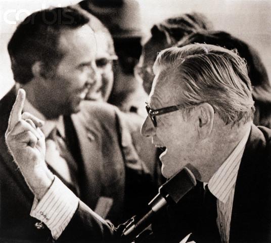 Nelson Rockefeller Flips Off Hecklers