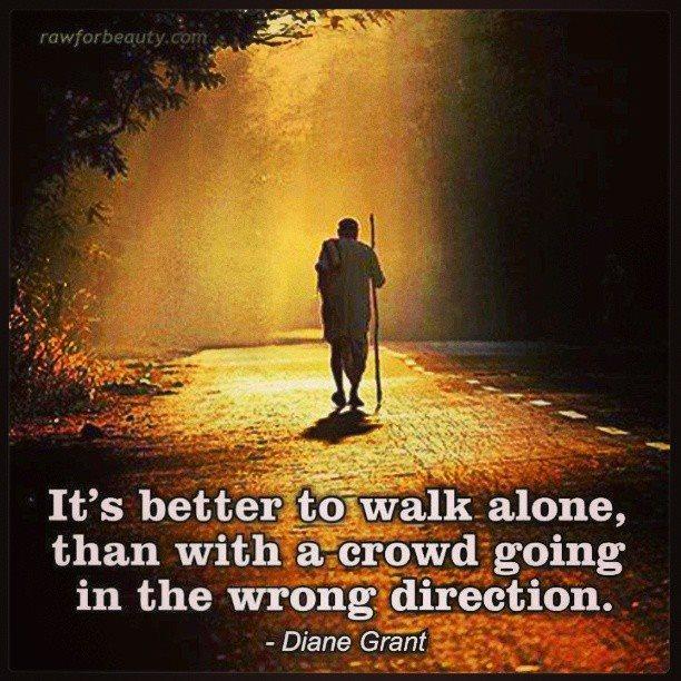 Walking alone in a crowd